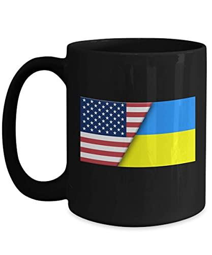 USA Ukraine ukrainische Flagge 11oz schwarze Kaffeetasse Einwanderer Doppelbürger Geschenk