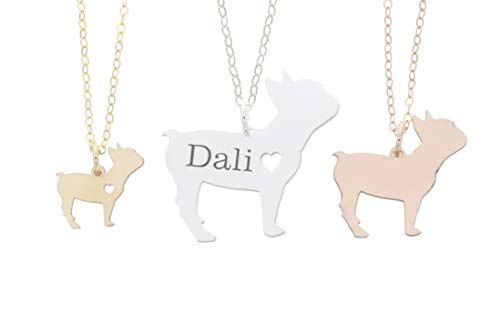 French Bulldog Necklace - IBD - Personalize Name Date - Pendant Size Options - Sterling Silver 14K Rose Gold Filled Charm
