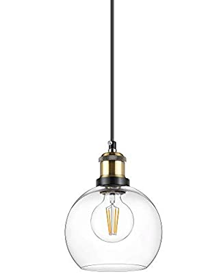 WENFENG Industrial Mini Pendant Light Fixtures, Adjustable Height Flush Mount Hanging Ceiling Lamp, Clear Globe Glass Shade E26 Base for Kitchen Island Dining Room Living Room Hallway Entryway