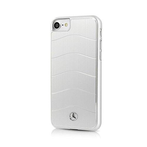 Mercedes MEHCP7CUSALSI Gebürstetes Aluminium Platte Hart Schutzhülle für Apple iPhone 8/7 mit Wawes Silber