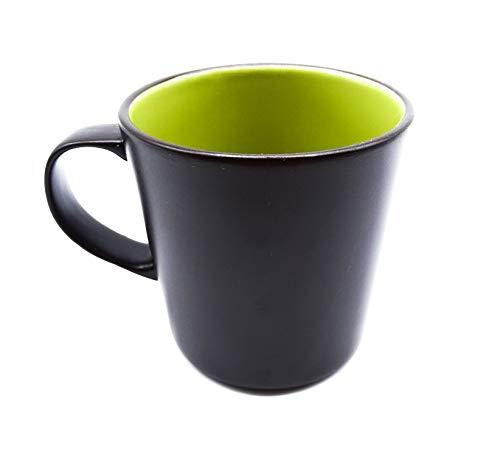 onweerstaanbaar1 matte keramische beker limoen groen aan de binnenkant 9 cm lang en 9 cm breed in donkere chocolade