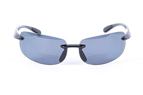 Mass Vision Lovin Maui Polarized Bifocal Sunglasses Unisex Lightweight Frames (Black, 2.5)