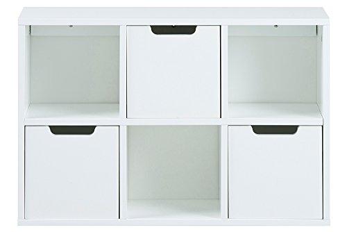lifestyle4living Regal weiß, mit 6 Fächern, Davon 3 mit Schubkästen bestückt, Maße: B/H/T ca. 58/39/18 cm