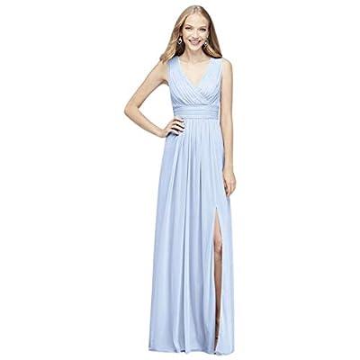 David's Bridal Long Mesh Pleated Tank Bridesmaid Dress Style F19942, Ice Blue, 8