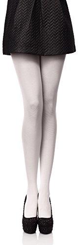 Antie Medias Panty en Microfibra Lencería Sexy Mujer 40 DEN (Blanco, XXL (Talla Fabricante: 6))