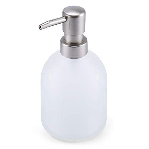 Vivarry Seifenspender Aus Milchglas - Pumpenkopfseifenflasche Aus Edelstahl - Gepresster Seifenspender, Nachfüllbare Handseife/Körperwäsche/Shampoo