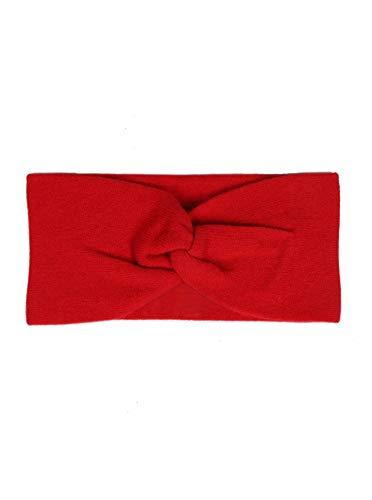 Zwillingsherz Stirnband aus 100{19a13bb67555a7b207c13250967e886cfe1a763da31b7616c94e8dd39f173253} Kaschmir - Hochwertiges Strick-Kopfband im Uni Design für Damen Frauen Mädchen - Wolle - Ohrenschutz - Haarband - warm und weich für Frühjahr Herbst und Winter - rot
