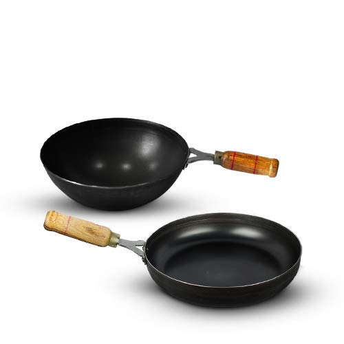 The Indus Valley Pre Seasoned Iron Cookware Set - Wok (10 inch) + Pan (10inch)