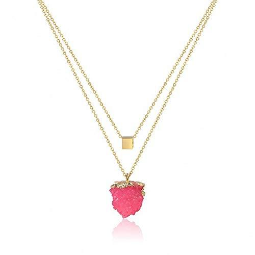 Burenqi Collar minimalista de acero inoxidable de color drusa, collar de piedra de cuarzo para mujer, joyería para niña, el mejor regalo