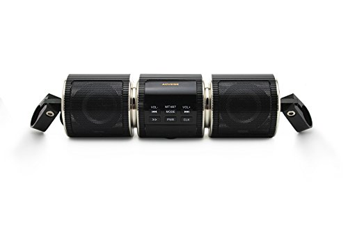 Familyus Upgrade Motorcycle Speaker, Water Resistant Bluetooth Scooter Bike ATV Jet Ski Stereo Sound System Radio Remote Alarm Speaker FM Radio MP3 Player Black