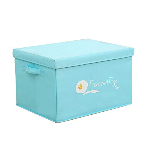 VIKMKM Cubos de almacenaje Plegables con Tapas, Cajas de almacenaje con Lable Holders para Estanterías, Armarios, Ropa, Camisetas,Blue,30L