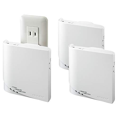 I-O DATA WiFi 無線LAN ルーター 11ac Wi-Fi 867+400Mbps 子機2台 コンセント直付け IPv6 3階建/4LDK/40台 日本メーカー WN-DX1300GNEX2