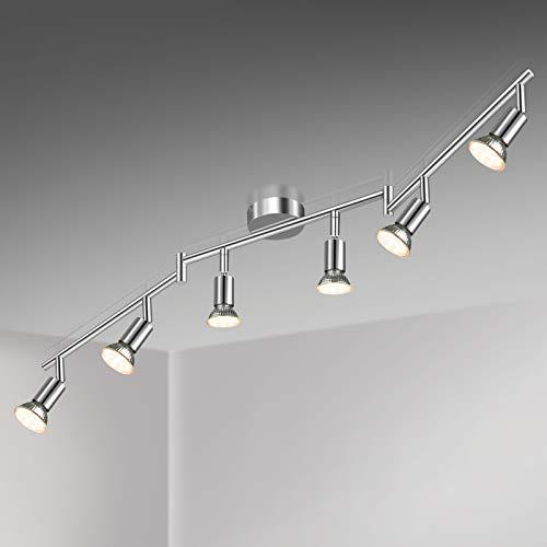 Unicozin LED Deckenleuchte, 6 Flammig LED Deckenstrahler Schwenkbar Chrom, Inkl. 6 x 3.5W GU10 LED Lampen, 380LM, Warmweiß, LED Deckenspot LED Deckenlampe