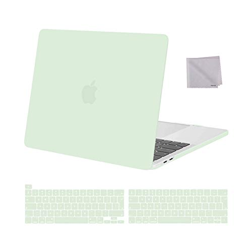 MOSISO MacBook Pro 13 inch Case 2016-2020 Release A2338 M1 A2289 A2251 A2159 A1989 A1706 A1708, Plastic Hard Shell Case&Keyboard Cover&Wipe Cloth Compatible with MacBook Pro 13 inch, Honeydew Green