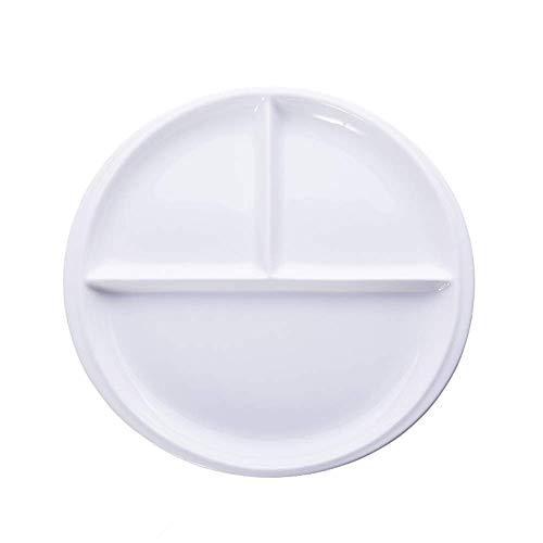 LCZ Porzellanteller mit 3 Fächern, anspruchsvollen und eleganten, runde Behälter Geeignet für Snacks, Getränke, Steak, Frühstück,Weiß