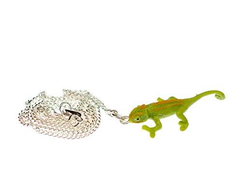Miniblings Chamäleon 45cm Kette Halskette Anhänger Reptil Echse Leguan grün - Handmade Modeschmuck - Gliederkette versilbert