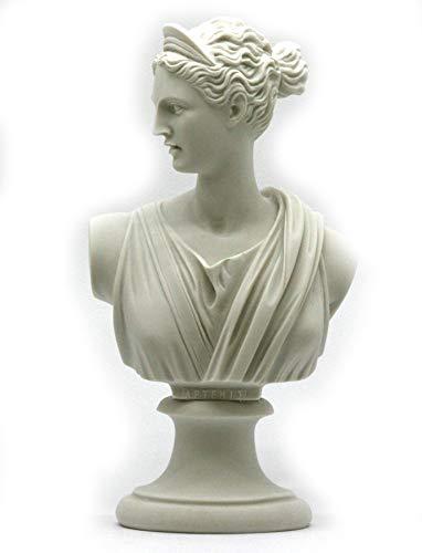 greekartshop Statue mit griechisch-römischen Göttin Artemis Diana Büste Kopf Gussmarmor Statue Skulptur 21 cm