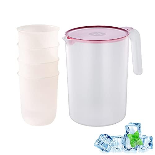 Jarra De Agua De Plástico Con 4 Tazas, Tetera Jarra Transparente Con Tapa, Alta Capacidad Para Servir Agua, Jugo, Té Helado Y Otras Bebidas Frías (Rosa,2000ml)
