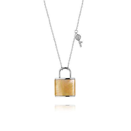 KnBoB Damen Schloss und Schlüssel Rundschliff Diamant Halskette 18K Weißgold
