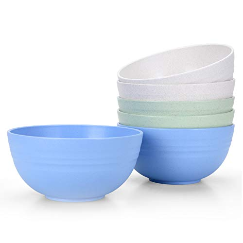 [Set of 6] Unbreakable Cereal Bowls 24 OZ Microwave and Dishwasher Safe BPA Free E-Co Friendly Bowl...