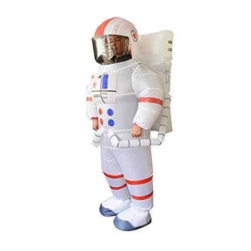 Amosfun Disfraz Inflable para Astronauta Adulto Disfraz de Halloween Cool Spaceman Traje de Cuerpo Completo soplar Traje piloto Vuelo Mono Blanco sin batería