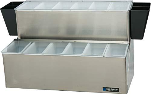 "San Jamar B6766L EZ-Chill Stainless Steel Ultimate Garnish Center, 20-7/8"" Width x 12-3/4"" Height x 12"" Depth"