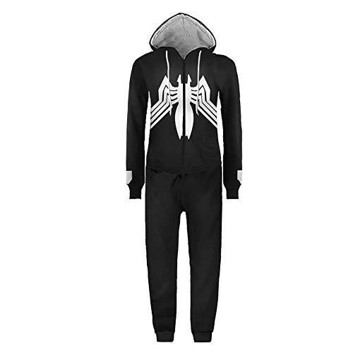 PAJAMASY Halloween Partei Cosplay Kostüme Unisex Pyjamas Adult Pyjamas Superheld Spider-Man Jumpsuits Sleepsuit Nachtwäsche Black-XL