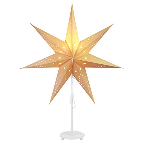 SALCAR 55cm, lampada da tavolo a LED natalizia, decorazione della casa, lampada di illuminazione con base in ferro bianco e lampadina E27 Bianco