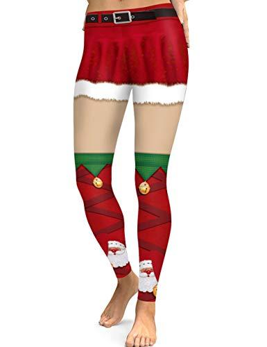 KIACIYA Mallas Navidad Mujer, Leggins Yoga Navidad Mujer Navidad Moda Estampado 3D Impresión Navidad Leggins...