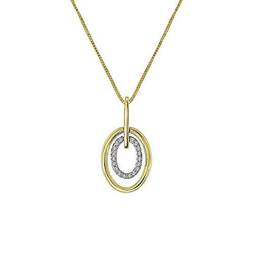Diamond Luxury - 585 Gelbgold-Kette oval mit Diamant - für Damen - 2-farbig