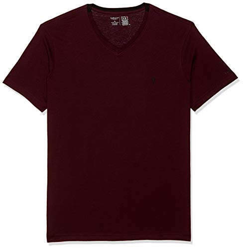 Van Heusen Men's Solid Regular fit T-Shirt (IHKTS1LPW60001_Maroon XL)
