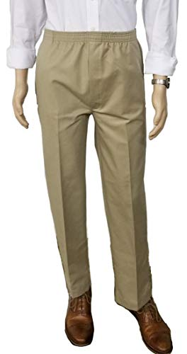 J & E Talit Men's Easy Dressing Full Elastic Waist Twill Casual Pull on Pant with Mock Fly (X-Large, Khaki)