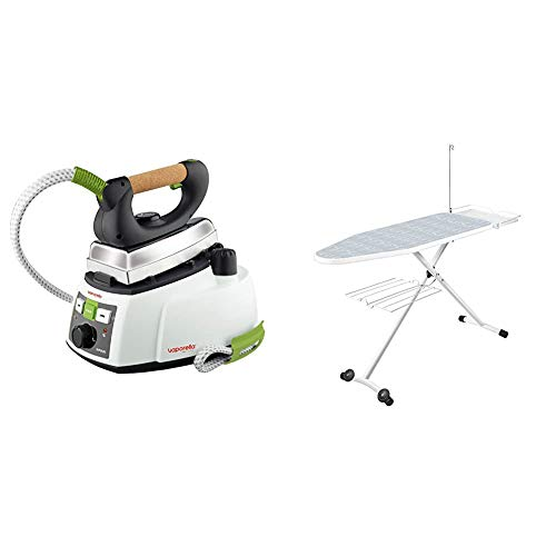 Polti Vaporella 535 Eco Pro Centro de planchado a vapor, 4 bar presión, 1750 W, 0.9 Litros, Función ECO + Convencional Tabla de Planchar para centros de Planchado con Caldera, Blanco