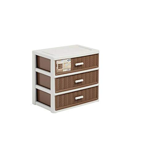 Leileixiao Caja de almacenamiento de plástico multicapa para cajones de imitación de ratán para ropa, caja de almacenamiento de escritorio, sin montaje (tamaño B: B)