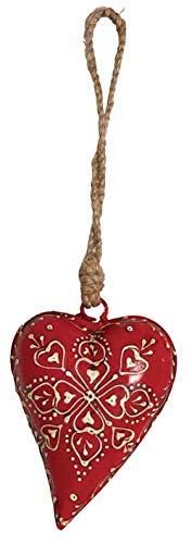 AUBRY GASPARD Coeur Rouge en métal et Corde à Suspendre 11 cm