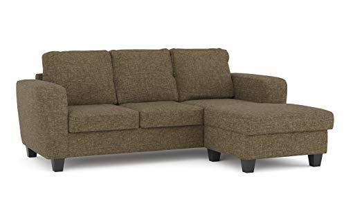 Confort24 Dany Home 3-zits hoekbank links of rechts bekleed stof bruin