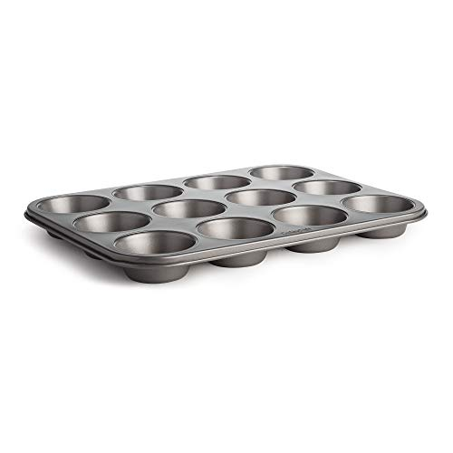 Cooking Light Muffin Pan Non-Stick, Quick Release, Carbon Steel Bakeware, 12 Cup, Gray