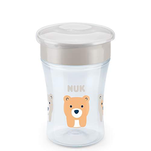 NUK Magic Cup Trinklernbecher, 360° Trinkrand, auslaufsicher abdichtende Silikonscheibe, 8+ Monate, BPA-frei, bär (grau), 230 ml