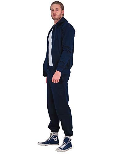 Love My Fashions® Mens Tracksuit Set Kids Contrast Cord Fleece Hoodie Top Bottoms Jogging Zip Joggers Gym Causal Exercise Running Sport Sweat Suit Pants Plus Size S M L XL XXL Navy Blue
