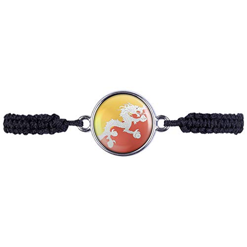 Mylery Armband mit Motiv Bhutan Thimphu Flagge Silber 16mm