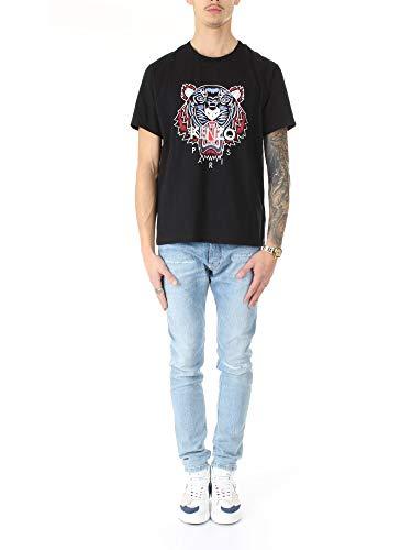 Kenzo Camiseta Tigre de algodón Negro con Logotipo Rojo y Celeste