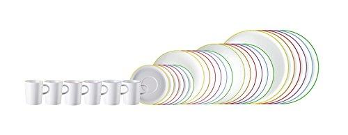 Arzberg CUCINA Colori 30tlg. Speise Service, Kaffee Service (6 Speiseteller, 6 Suppenteller, 6 Frühstücksteller, 6 Becher, 6 Kombi Untertasse, in 6 unterschiedlichen Farben)