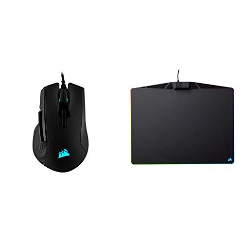 Corsair Ironclaw RGB - FPS and MOBA Gaming Mouse, Black & MM800 Polaris RGB Mouse Pad - 15 RGB LED Zones - USB Pass Through - High-Performance Mouse Pad Optimized for Gaming Sensors, Black