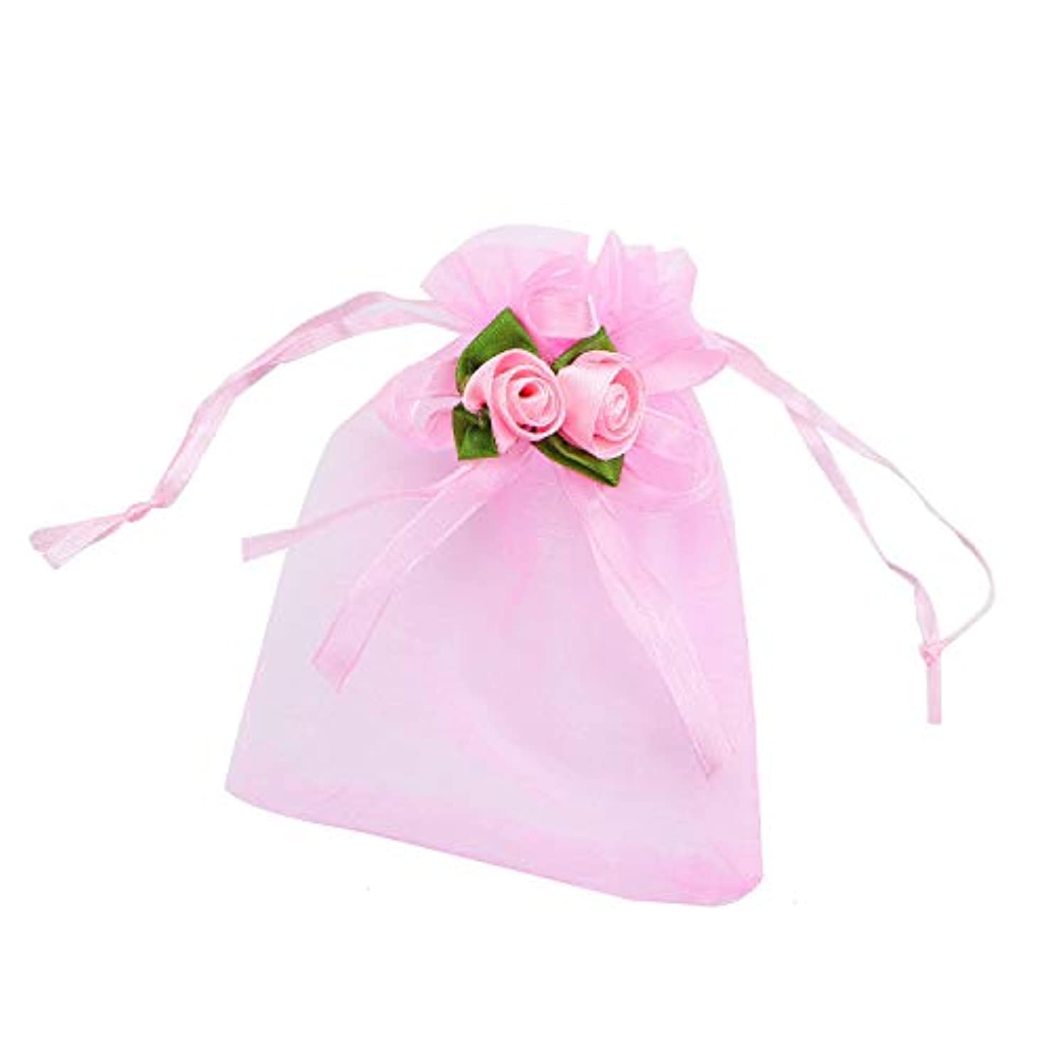 Monrocco 30 Pcs Pink Organza Drawstring Bags Rose Flower Candy Gift Bags Pouches Wedding Favor Bags