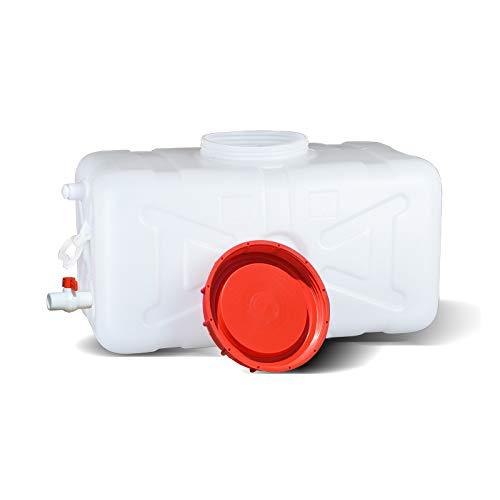 Tanque de almacenamiento de agua del hogar, cubo de plástico, gran capacidad de almacenamiento de agua rectangular gruesa, gran cantidad de agua gruesa de grado alimenticio con grifo del hogar,140L