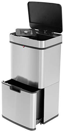 Hailo Öko Vario XL, Mülltrenner, Vollautomatische Deckelöffnung durch Sensortechnik, 50 Liter,Kunststoff, Edelstahl, 0656-001