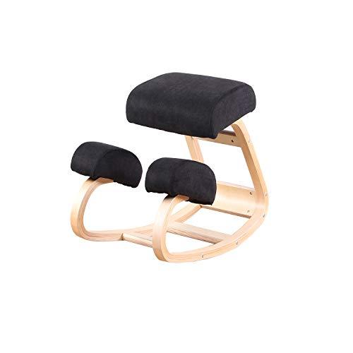 Silla ergonómica de Rodilla Equilibrio Taburete de Madera para Oficina en casa y Silla de Escritorio Gran Asiento Grueso y cómodo (Negro)