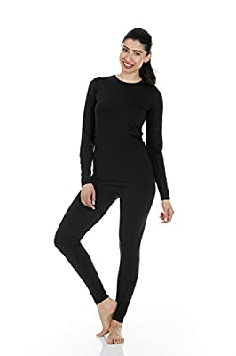 Thermajane Women's Ultra Soft Thermal Underwear Long Johns Set with Fleece Lined (Large, Black) from