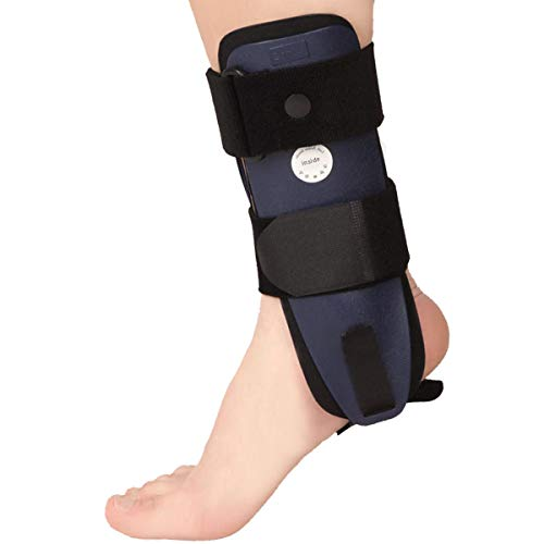VELPEAU Ankle Brace Stirrup Ankle Splint Adjustable Rigid Stabilizer for Sprains Tendonitis Post Op Cast Support and Injury Protection for Women and Men Foam Pads Large Right Foot