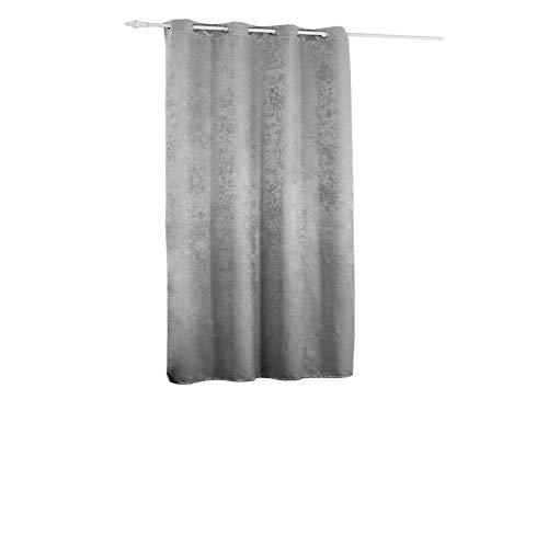 WOLTU VH5885sg, Vorhang Gardinen Blickdicht mit Ösen, 270g/m2 Schwere Verdunkelungsvorhang Thermovorhang Damast Optik für Wohnzimmer Schlafzimmer Tür kurz 135x175 cm Silbergrau, (1 Stück)